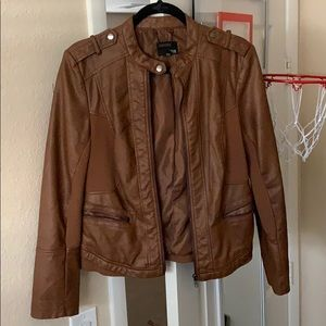 a.n.a Brown Leather Jacket